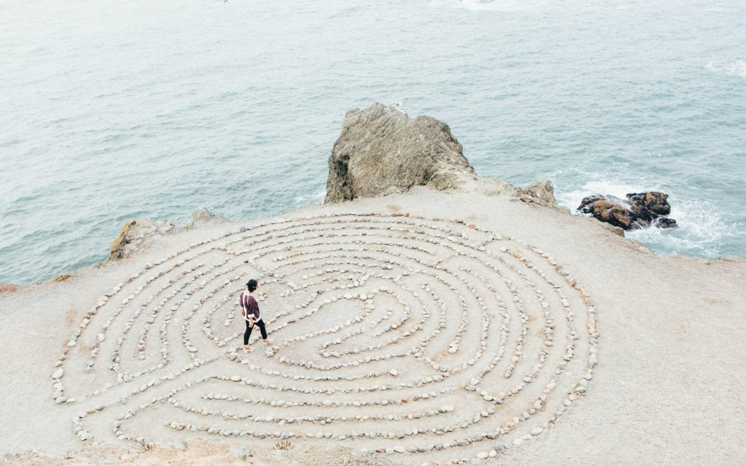 labyrinth on sea shore